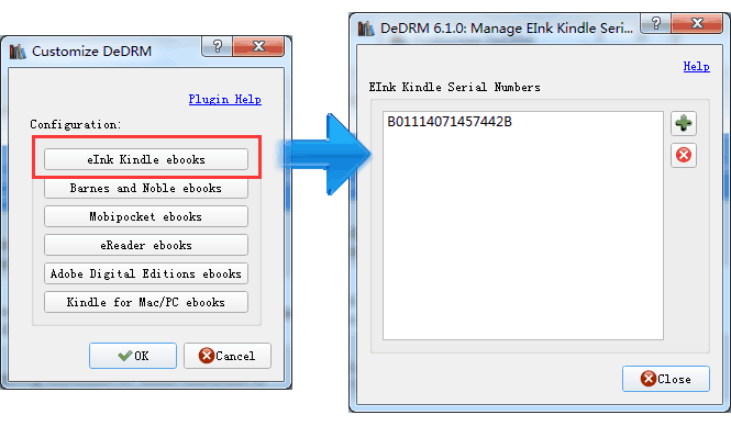 input ksn in calibre drm plugin