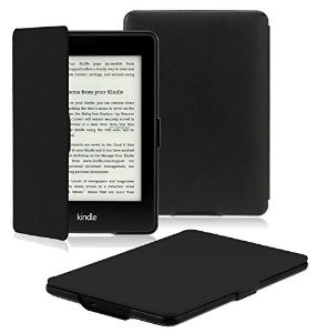 OMOTON® Kindle Paperwhite Case Cover -- The Thinnest and Lightest PU Leather Smart Cover for All-New Kindle Paperwhite (Fits All versions: 2012, 2013, 2014 and 2015 All-new 300 PPI Versions), Black