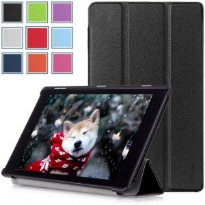Fire HD 8 (2015 5th Gen) Case - HOTCOOL Slim New PU-Leather Folio With Auto Wake/Sleep Feature Cover Case For Amazon Kindle Fire HD 8 Inch