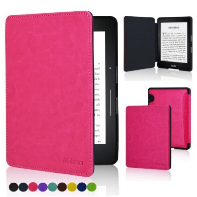 ACcase Kindle Voyage SmartShell Case - the Thinnest and Lightest PU Leather Cover Case for Amazon Kindle Voyage 2014 Version with Auto Wake Sleep Feature - Hot Pink