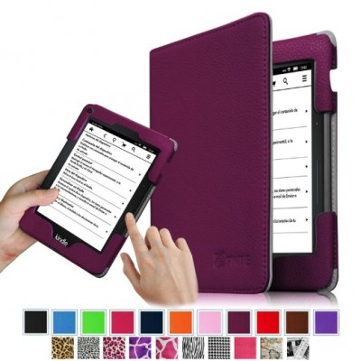 Fintie Kindle Voyage Slim Fit Folio Premium PU Leather Book Style Case Cover with Auto Sleep/Wake (will only fit Amazon Kindle Voyage 2014), Purple