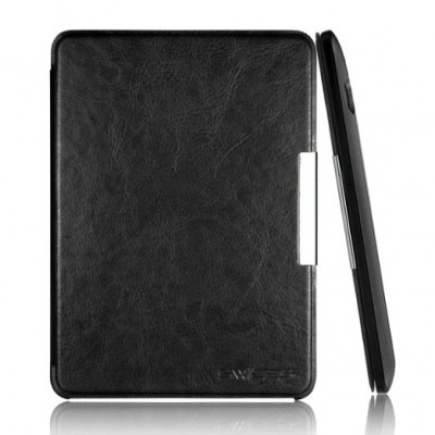 """Swees® Amazon Kindle Voyage 6"""" Case Cover - Ultra Slim Leather Case For 2014 Version Amazon Kindle Voyage (Will Not Fit Kindle Paperwhite), With Smart Auto Sleep/Wake Function, Includes 2 x Free HD Clear Screen Protector, Black"""