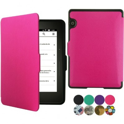 Kindle Voyage Case - ACcover Kindle Voyage SmartShell Protective Case - the Thinnest and Lightest Premium PU Leather Cover Case for Kindle Voyage (2014 Model) with Auto Wake Sleep Feature - Hot Pink