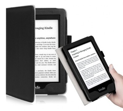 "OMOTON Kindle Voyage Case Cover -- Drop Resistance Soft PU leather Case Cover for the Latest Amazon Kindle Voyage with 6"" Display and Built-in Light, Black"