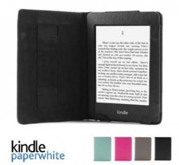 "GMYLE(R) Black Ultra Slim PU Leather Flip Folio Folding Style Magnetic Wake Up Sleep Function Case Smart Cover with Hand Strap for Amazon Kindle Paperwhite 3G Wifi 6"" inches e-book (Fits All versions: 2012, 2013, 2014 and 2015)"
