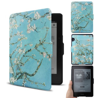 """WALNEW Kindle Voyage Colorful Painting Leather Case Cover -- The Thinnest and Lightest PU leather Case Cover for the Latest Amazon Kindle Voyage with 6"""" Display and Built-in Light (Tree and Flower, kindle Voyage)"""
