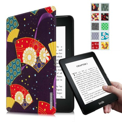 Fintie Kindle Voyage SmartShell Case - [Oriental Breeze Series] The Thinnest and Lightest Protective Cover with Auto Sleep/Wake for Amazon Kindle Voyage (2014), Floral Fan Purple