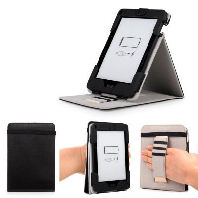 """Mulbess - Amazon Kindle Voyage 6"""" eReader eBook Stand Case Cover - Leather Case Cover with Elastic Hand Strap (Stand Black)"""