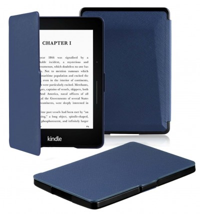 "OMOTON Kindle Voyage Smart Case Cover -- The Thinnest and Lightest PU leather Case Cover for the Latest Amazon Kindle Voyage with 6"" Display and Built-in Light, Navy Blue"