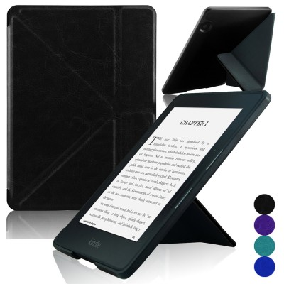 Kindle Voyage [Origami] Case - ACcase Kindle Voyage Protective Case - Ultra Slim Premium PU Leather Cover Case for Kindle Voyage 2014 Version with Auto Wake Sleep Feature - Black