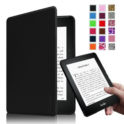 Fintie Kindle Voyage SmartShell Case - [The Thinnest and Lightest] Protective PU Leather Cover with Auto Sleep/Wake for Amazon Kindle Voyage (2014), Black