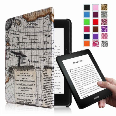 Fintie Kindle Voyage SmartShell Case - [The Thinnest and Lightest] Protective PU Leather Cover with Auto Sleep/Wake for Amazon Kindle Voyage (2014), Map