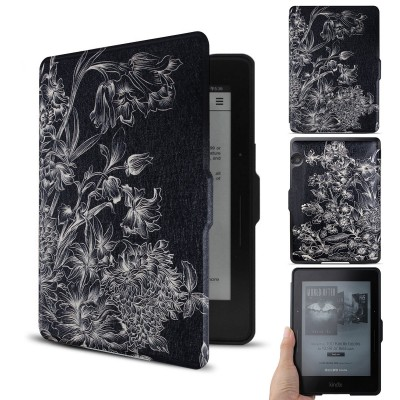 """WALNEW Kindle Voyage Colorful Painting Leather Case Cover -- The Thinnest and Lightest PU leather Case Cover for the Latest Amazon Kindle Voyage with 6"""" Display and Built-in Light (Black Flower, kindle Voyage)"""