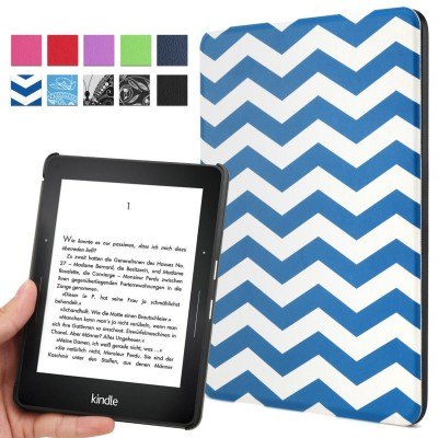 Kindle Voyage Case - Poetic Kindle Voyage Case [Slimline Series] - [Lightweight] [Ultra-slim] PU Leather Slim-Fit Cover Stand Folio Case for Amazon Kindle Voyage Chevron (3 Year Manufacturer Warranty From Poetic)