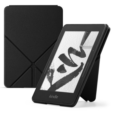 Amazon Kindle Voyage Case - Genuine Leather Perfect Fit Origami Standing Cover with Auto Wake/Sleep for Amazon Kindle Voyage, Black