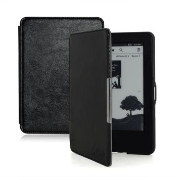 F.Dorla® Kindle Paperwhite Leather Case Ultra Slim Cover for Amazon Kindle Paperwhite 2015 2014 2013 2012 with Magnetic Auto Sleep Wake Function[Lifetime Warranty]-Black