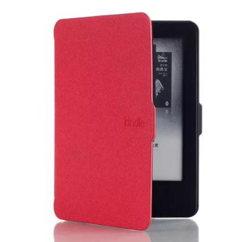 Kepuch Magnetic Adsorption PU Leather Case Cover Auto Sleep / Wake up for Amazon Kindle Voyage - Red
