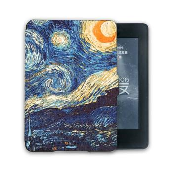 Kandouren Kindle Paperwhite Case - Van gogh Starry Night Smartshell,Light Slim Leather Cover with Autowake(Fit 6 inch Amazon Kindle Paperwhite 2013 2015),blue color book