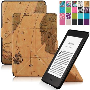 Kindle Paperwhite SmartShell Case Cover,WizFun Slim Stand-able PU Leather Case Cover with Auto Wake/Sleep for Amazon Kindle Paperwhite (Fits versions: 2012, 2013, 2014 and 2015 New 300 PPI) (MapBrown)