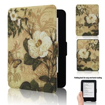 """Kindle, 6"""" Glare-Free Touchscreen Display (7th Generation) Case - ACdream Ultra Slim New Desigh PU Leather Magnetic Smart Cover Case for Kindle, 6'' Glare-Free Touchscreen Display (7th generation, 2014 Version) - Gardenia in blossom"""