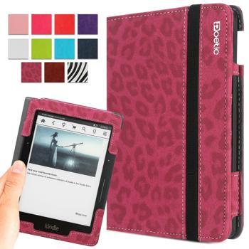 Kindle Voyage Case - Poetic Kindle Voyage Case [SlimBook Series] - [SlimFit] [Professional] PU Leather Slim Folio Case for Amazon Kindle Voyage Leopard Pattern (3 Year Manufacturer Warranty From Poetic)