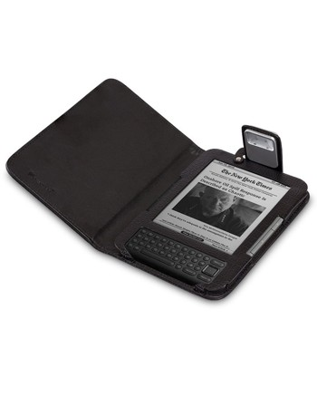 GreatShield Premium Genuine Lighted Leather Flip Case Cover with Built-in LED Light for Amazon Kindle 3G (Fits Kindle Keyboard) - Black
