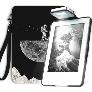 Young me Kindle Lighted Leather Case with Rechargeable Light - Lightest and Thinnest Protective Leather Cover with Auto Wake/Sleep for Amazon Kindle 6 inch (does not fit Kindle Paperwhite), Moon