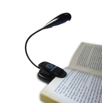 LuminoLite Rechargeable Extra-Bright 4 LED Book Light, Easy Clip On Reading Light, USB Cable & UL Certified AC Charger Included, 2 Brightness Settings, Soft Padded Clamp. Perfect for Bookworms