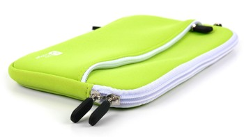 Green Water-Resistant Neoprene Travel Case with Front Zip Compartment - Compatible with Kobo Aura One - by DURAGADGET