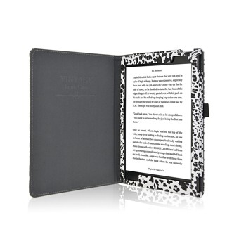 ACdream Kobo Aura One Case, Folio Premium PU Leather Cover Case for Kobo Aura One Ereader (2016 release) with auto wake sleep feature, Black-White-Leopard