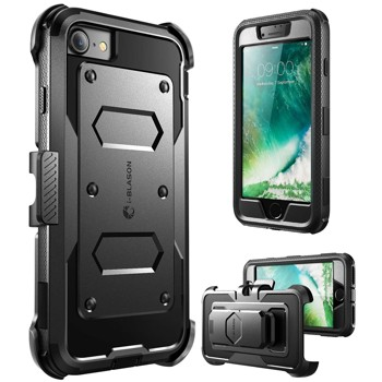 iPhone 7 Case, i-Blason ArmorBox Daul Layer [Full body] [Heavy Duty Protection ] Shock Reduction / Bumper Case with built in Screen Protector for Apple iPhone 7 2016 Release (Black)