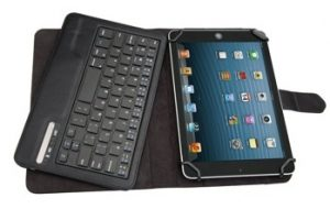 Tsmine Amazon Fire HD 10 Tablet Bluetooth Keyboard Case - Universal 2-in-1 Detachable Wireless keyboard [QWERTY] w/ Folio Leather Case Stand Cover [NOT include Tablet], Black