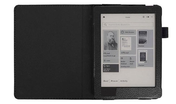 Rukiwa For KOBO Arua Edition 2 eReader 6inch Magnetic Auto Sleep PU Leather Cover Case (Black)