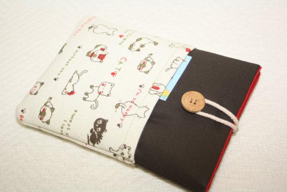 Brown bag with cats + with two pockets- Kindle Voyage Cover, eReader Cover/Ereader bag -ebook reader for e-reader -ebook,Kobo Aura edition 2