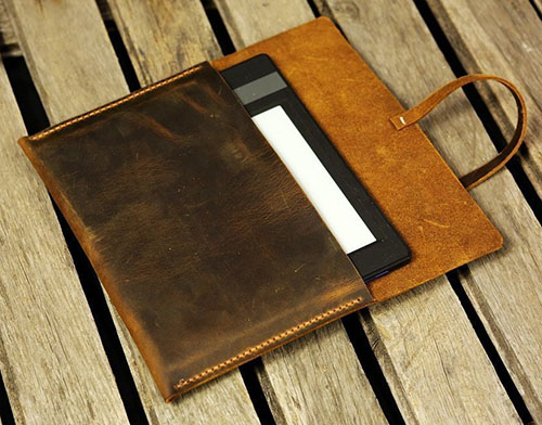 Distressed leather Kindle Paperwhite case cover / Simple retro brown leather Kindle Voyage cover case
