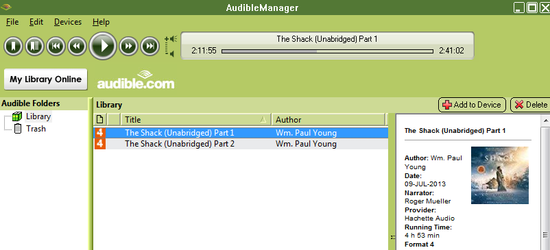 play audiobook with audible manager