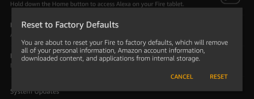 reset kindle fire to factory defaults