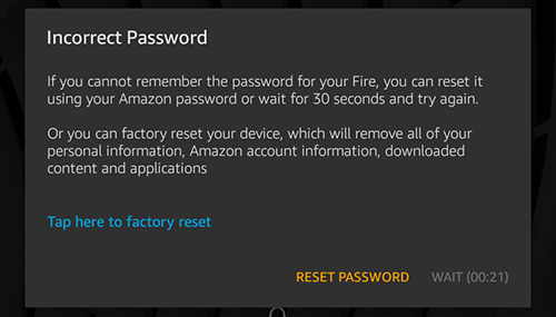 Forget Kindle Fire's screen lock password