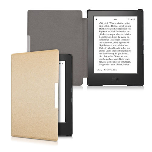 kwmobile Flip cover case for > Kobo Aura H2O < - imitation leather foldable case in gold