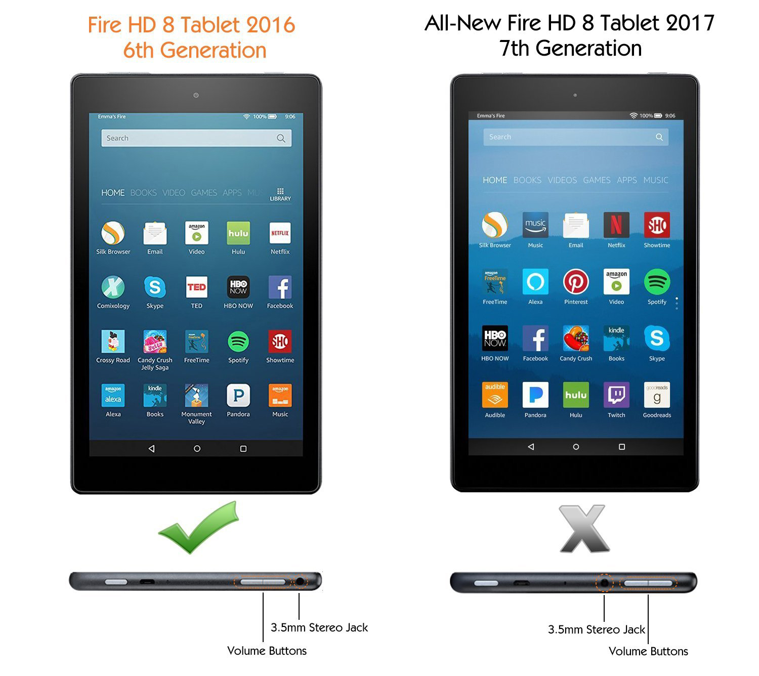 difference between fire hd 8 2016 and 2017