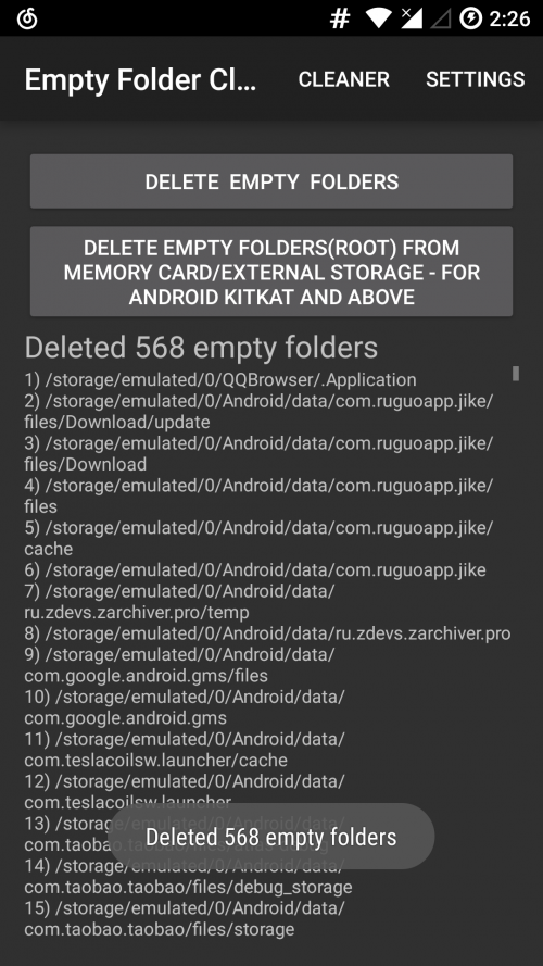 Clean empty folders