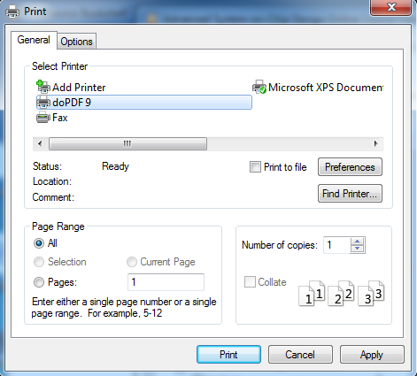 Choose PDF printer